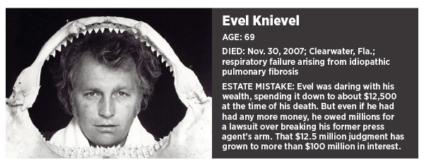 Evel Knievel Insurance Salesman: Estate Planning Failures Of The Rich And Famous