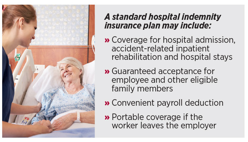A standard hospital indemnity insurance plan may include